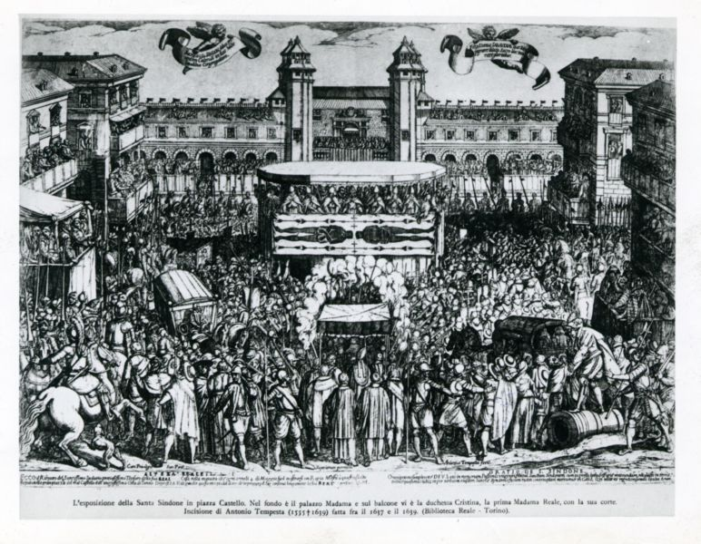 <B>TORINO. L'esposizione della Santa Sindone in piazza Castello (1613).</B>