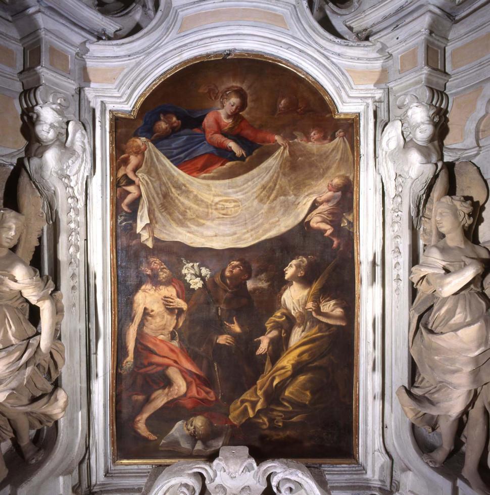 <B>S. MICHELE DI MONDOVI'. <I>La Vergine offre la Sindone a Santi</I>, di Domenico Guidobono. </B>