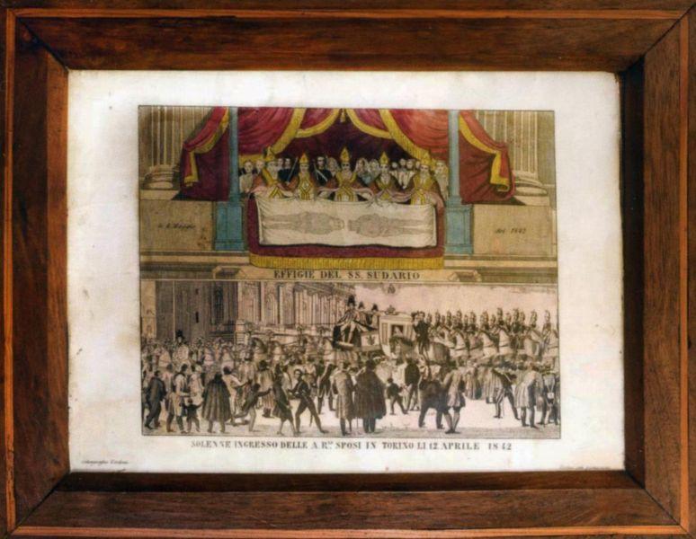 <B>TORINO, Effige del SS. Sudario, incisione su rame aquerellata, Calcografia Verdoni, 1842.</B>