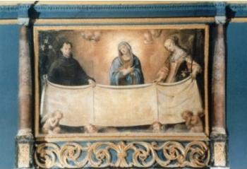 BENEVAGIENNA (Cn). Chiesa di San Francesco, ancona del coro.