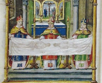 TORINO. La Sindone retta da tre vescovi, miniatura.